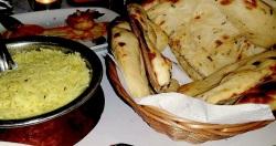 Biryani rice and garlic naan