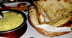 Biryani rice and garlic naan