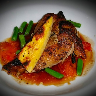 Crispy skin duck with polenta