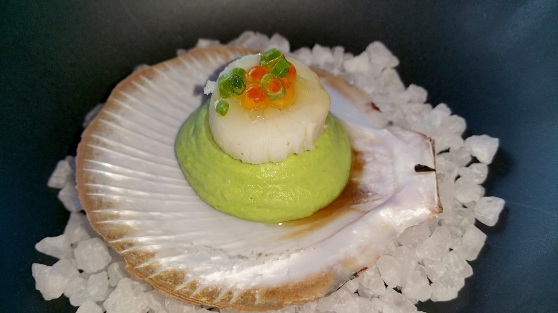 Amuse bouche of scallop on avocado puree