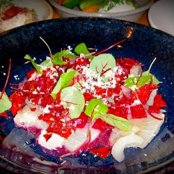 Kingfish carpaccio with beetroot