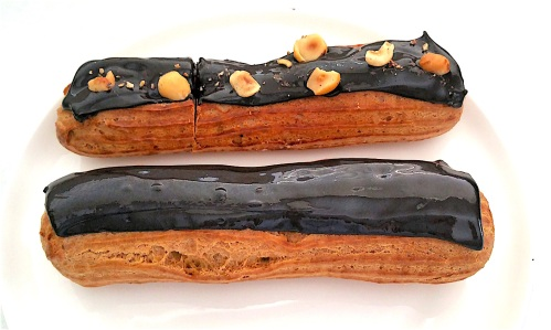 Hazelnut and chocolate eclairs