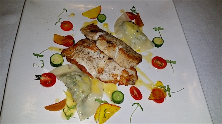Sea bass with blue crab ravioli