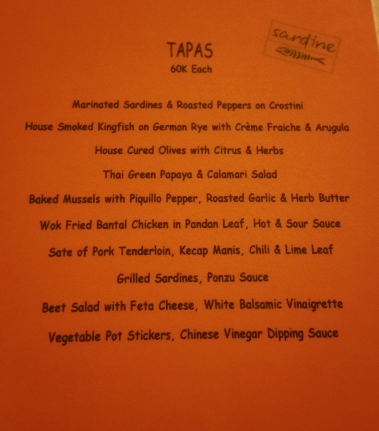 The tapas menu