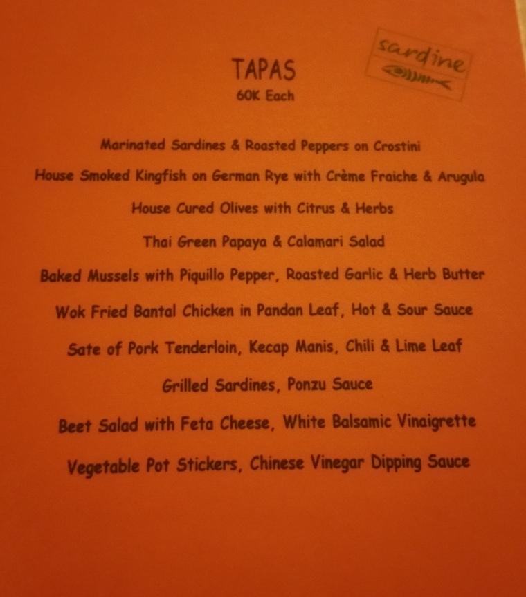 The tapas menu