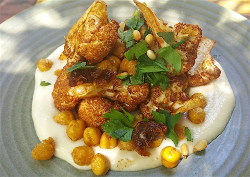 Cauliflower with dates, almonds and chick peas