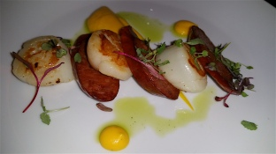 Seared scallops with chorizo & pumpkin puree