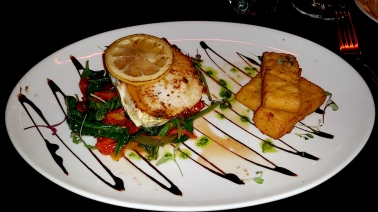 Swordfish with mediterranean salad & chickpea chips